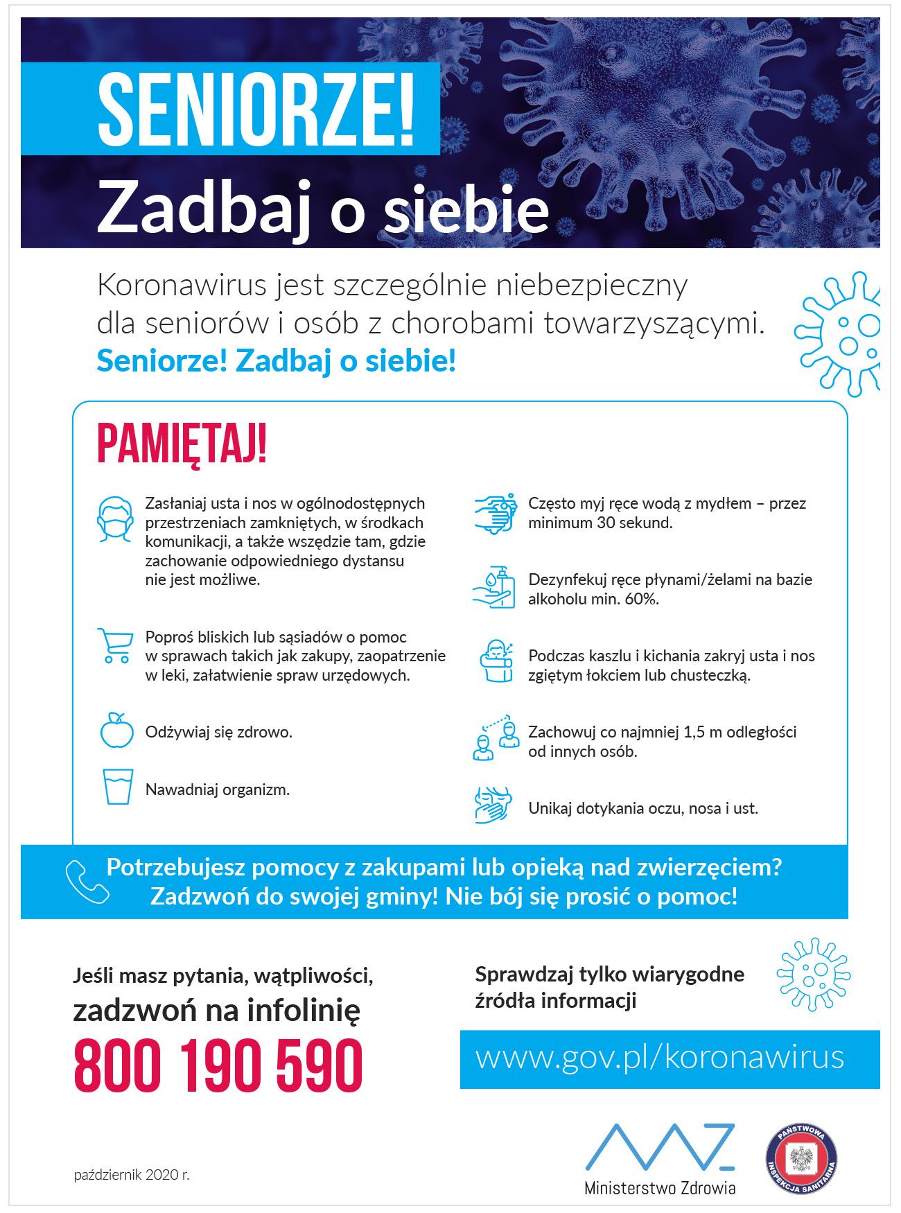 Plakat Ministerstwa Zdrowia z zasadami bezpieczeństwa