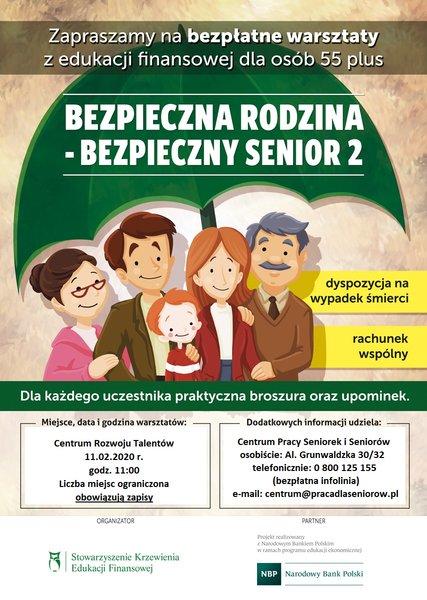 Plakat informujący o bezpłatnych warsztatach pt.